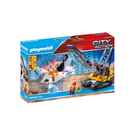 70442 Construction Cable Excavator with Building Section ชุดก่อสร้าง เครนรื้อถอน